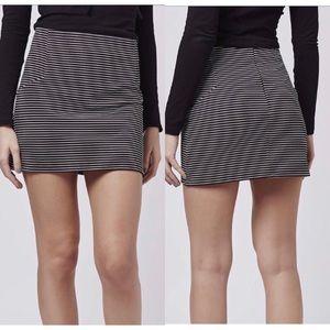 Topshop Black & White Striped Stretch Mini Skirt 6
